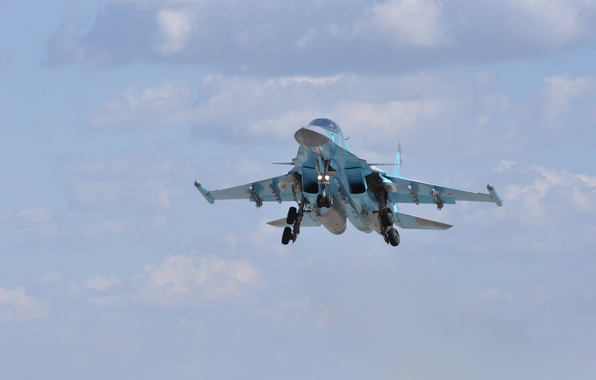 Picture clouds, bomber, landing, chassis, frontline, Fullback, Su 34