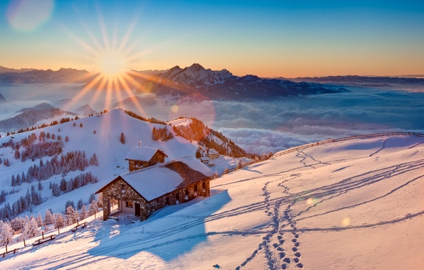 Picture winter, the sky, the sun, snow, trees, mountains, fog, home