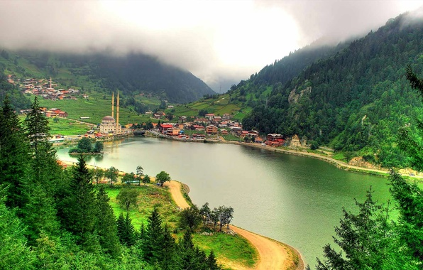 Picture sea, mountains, the city, home, mosque, Turkey, the minaret, Trabzon
