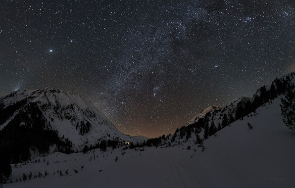 Picture winter, the sky, stars, snow, mountains, night, the milky way
