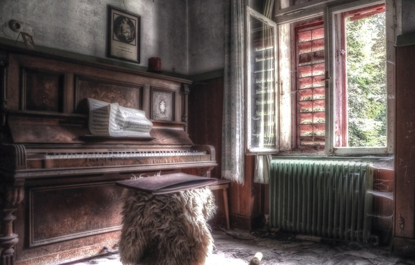 Picture music, room, window, piano