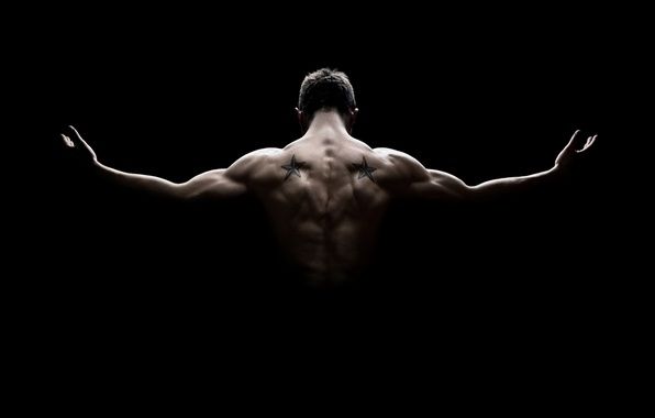 Picture man, muscles, pose, back, strength, shadow