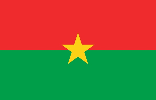 Picture green, red, star, yellow, flag, Burkina Faso