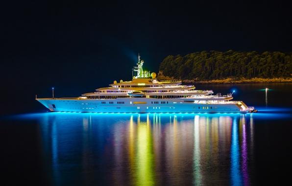 Picture night, lights, island, yacht, Eclipse, yacht, trees., mega, luxury