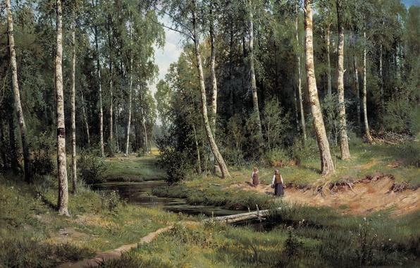 Picture picture, Stream, Shishkin, forest, in Berezovo