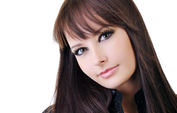 Picture look, girl, face, hair, brunette, white background