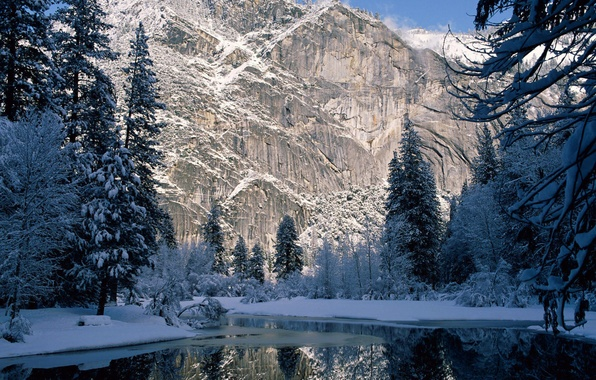 Picture winter, snow, trees, mountains, rock, river, spruce