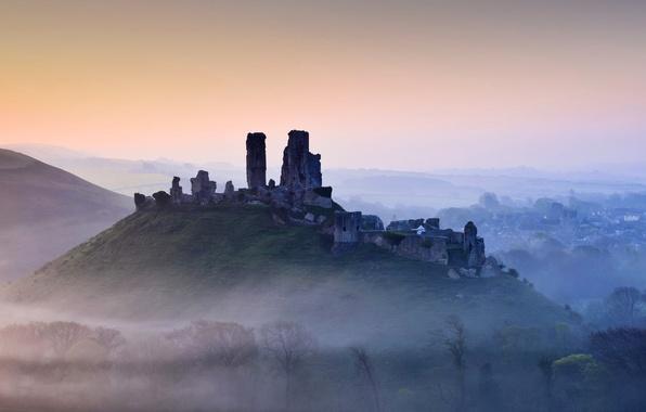 Picture mountains, fog, hills, England, Dorset, Corfe castle