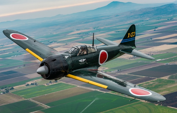 Photo wallpaper A6M3 Zero, deck, fighter, Japanese