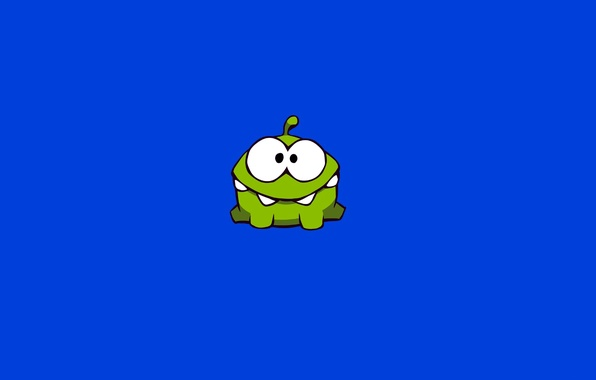 Picture green, small, monster, character, Cut the Rope, minimalism., Amateur, the universe, Om-Nom, Am Dumb, Cut …