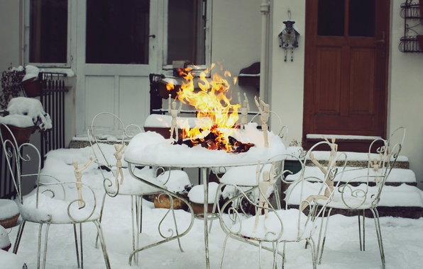Picture winter, snow, fire, people, men, the fire, photographer, wooden, photography, photographer, ikea, David Olkarny