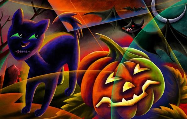 Picture night, the moon, cemetery, pumpkin, Eclipse, bat, black cat, Happy Halloween, Jack