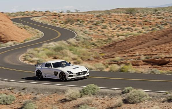 Picture Mercedes-Benz, Road, White, Desert, Machine, AMG, SLS, Sports car, In motion