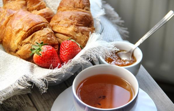 Picture tea, Breakfast, strawberry, cakes, cup, jam, growing, breakfast, croissant, jam, tea