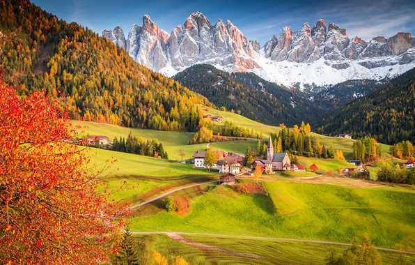Picture autumn, forest, tree, Alps, Italy, Church, village, the village