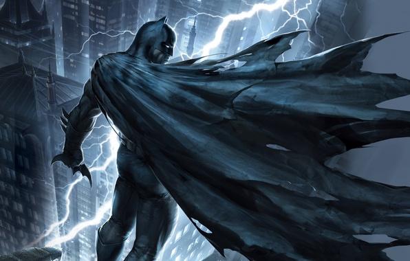 Picture roof, night, the city, lightning, mask, art, costume, Batman, The Dark Knight Returns