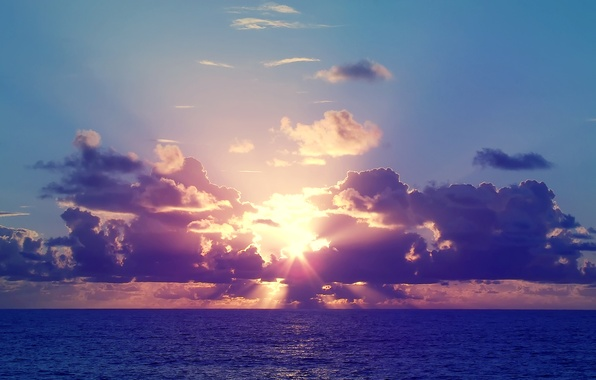 Picture sea, the sky, the sun, sunset, clouds