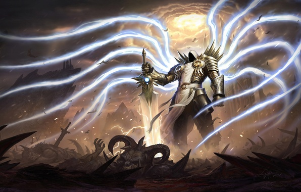 Picture angel, Diablo, Tyrael, sword. warrior, Tirael