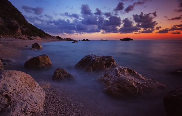Picture sea, wave, the sky, clouds, sunset, stones, shore, the evening, horizon