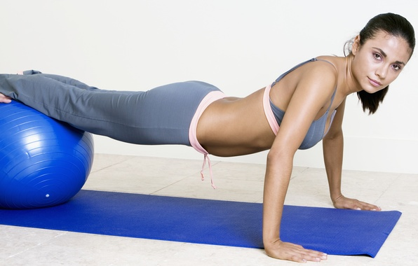 Picture woman, look, pose, workout, fitness, exercises with fitball