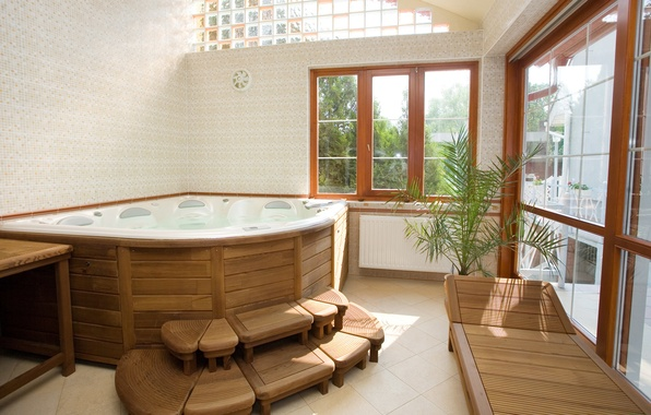 Picture window, bath, Jacuzzi, bathroom, couch, the jets