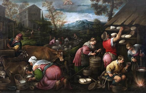 Picture animals, mountains, people, picture, April, life, genre, Francesco Bassano
