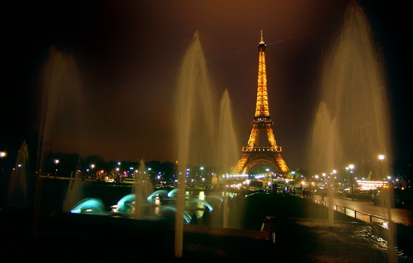 Picture night, lights, tower, Paris, France, fountains, Eiffel