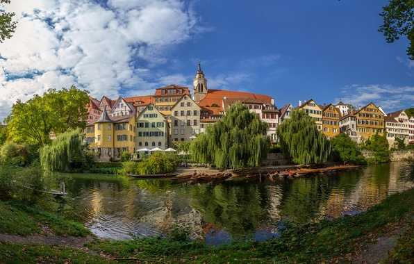 Picture river, building, Germany, panorama, promenade, Germany, Baden-Württemberg, Baden-Württemberg, Tübingen, Tübingen, Neckar River, the Neckar river