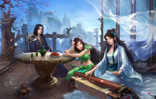 Picture girls, spring, art, guy, heroes, traditional clothing, Ancient China, Jade dynasty, MMORPG