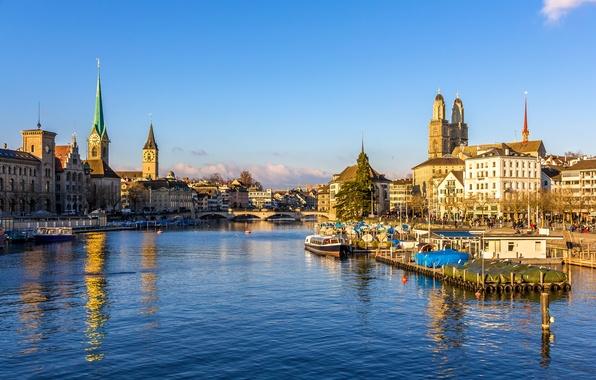 Picture bridge, river, home, Switzerland, piers, Zurich