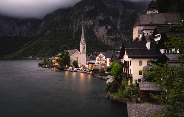 Picture forest, trees, mountains, lights, lake, rocks, shore, home, the evening, Austria, twilight, Hallstatt