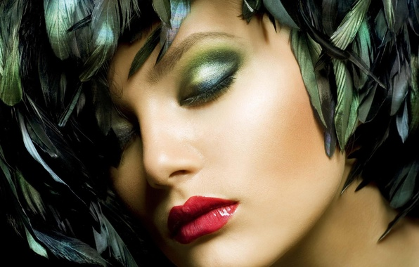 Picture girl, face, feathers, makeup, lipstick, lips, shadows