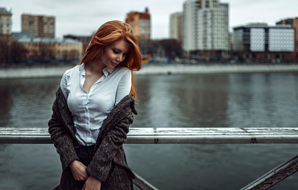 Picture girl, the city, background, Russia, redhead, George Chernyadev, Puzzlement