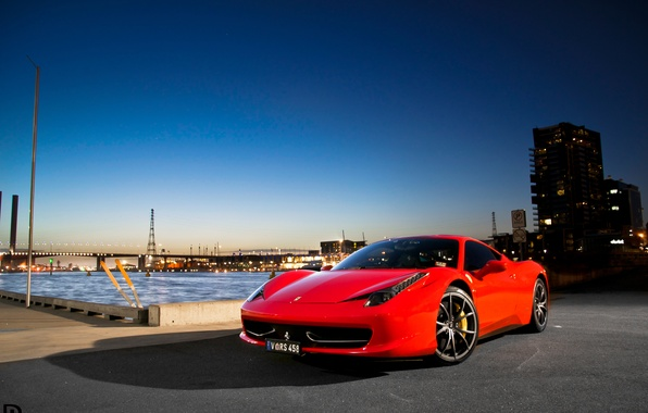 Picture the sky, bridge, the city, lights, red, ferrari, Ferrari, Italy, 458 italia