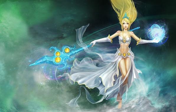 Picture girl, magic, elf, tattoo, tattoo, staff, league of legends, Janna