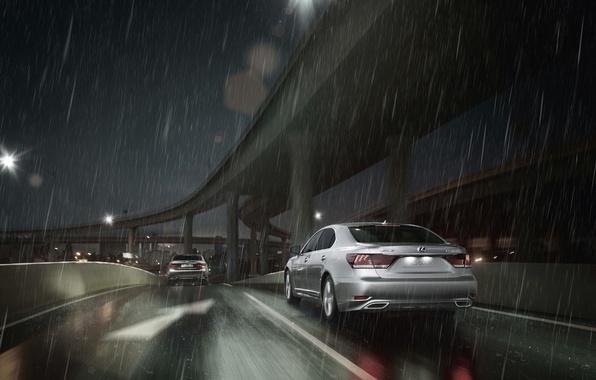 Picture Night, Lexus, Machine, Rain, Lexus, Sedan, Two, Overcast, LS-EU