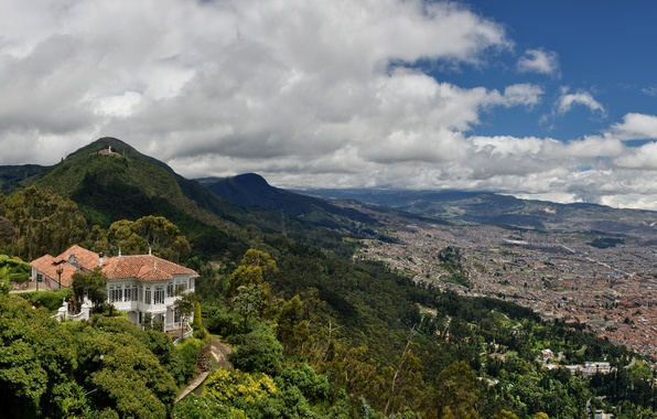 Picture the sky, clouds, the city, house, Villa, mountain, valley, Colombia, bogota