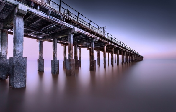 Picture water, dusk, reflection, pier