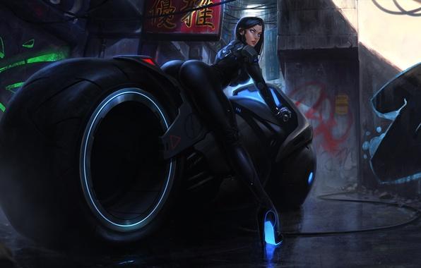 Picture ass, girl, fiction, feet, Japan, art, ass, cyborg, bike, motorcycle, cyberpunk, cyberbike