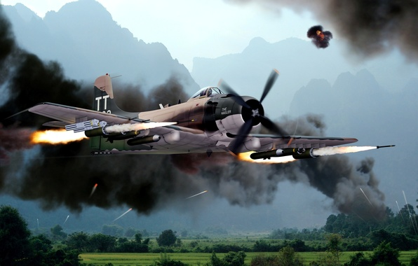 Picture the sky, mountains, war, smoke, figure, missiles, art, attack, the plane, American, Douglas A-1, Vientam, …