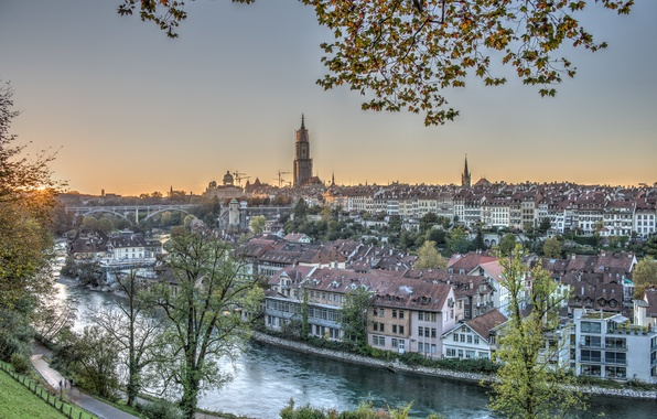 Picture river, building, Switzerland, panorama, Switzerland, Bern, Bern