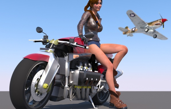 Picture girl, the plane, rendering, visualization, art, motorcycle, the sky, 3d.