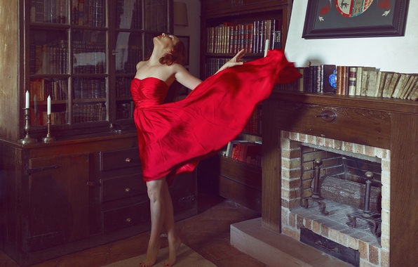 Picture girl, face, room, red, books, dress, fireplace, legs, shelves