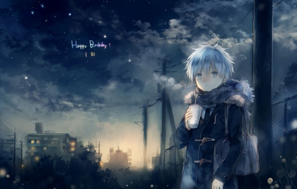 Picture cold, the sky, stars, clouds, night, anime, scarf, art, guy, kuroko tetsuya, kuroko from basket, …