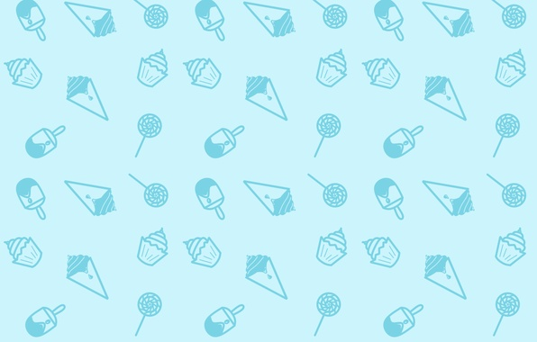 Picture Minimalism, Blue, Candy, Sweets, Texture, Ice cream, Lollipop, Ice Cream, Seamless, Snacks, Cupcakes