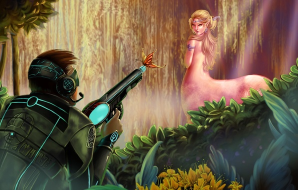 Picture forest, girl, weapons, butterfly, art, soldiers, male, centaur