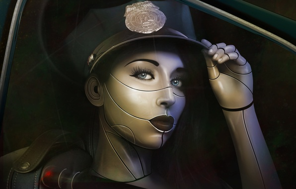 Picture look, girl, face, eyelashes, fiction, police, art, lips, cyborg, cap, the law