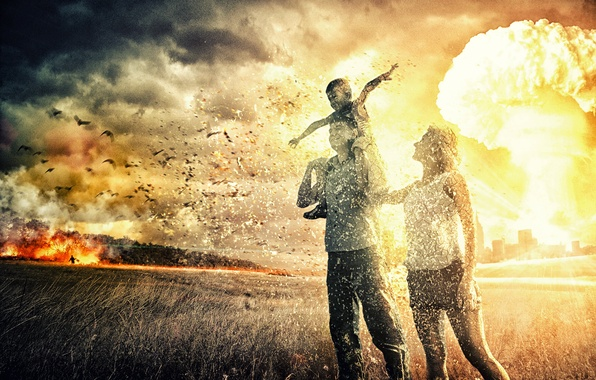 Picture people, war, Field, family, a nuclear explosion, pustosh