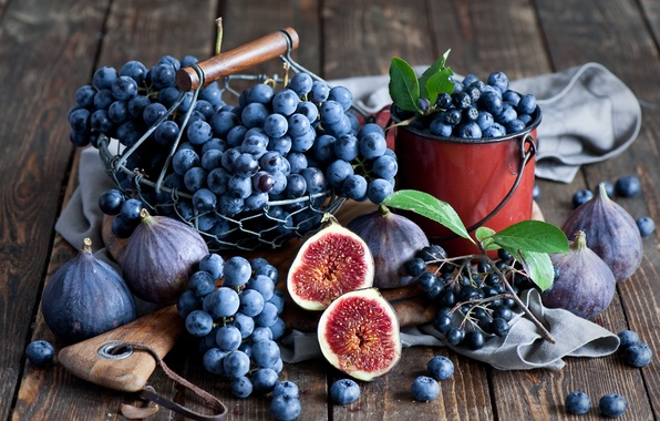 Picture autumn, berries, blueberries, grapes, still life, bunches, figs, Anna Verdina
