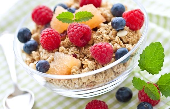 Picture berries, raspberry, Breakfast, blueberries, cereals, fresh, berries, breakfast, muesli, muesli, healthy